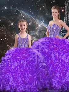 Most Popular Floor Length Eggplant Purple 15 Quinceanera Dress Organza Sleeveless Beading and Ruffles