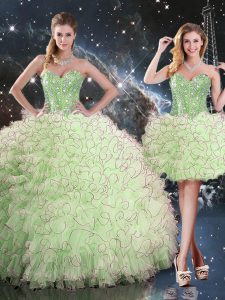 Beading and Ruffles Sweet 16 Dress Lace Up Sleeveless Floor Length