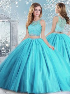 Floor Length Aqua Blue Quinceanera Dresses Tulle Sleeveless Beading and Sequins