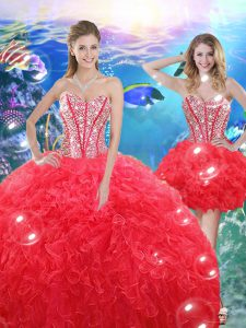 Coral Red Organza Lace Up 15 Quinceanera Dress Sleeveless Floor Length Beading and Ruffles