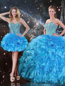 Floor Length Ball Gowns Sleeveless Baby Blue Quinceanera Dresses Lace Up