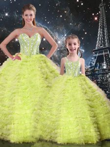 Fancy Sweetheart Sleeveless Lace Up Quince Ball Gowns Yellow Green Tulle