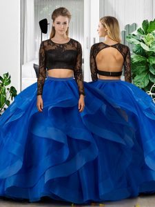 Trendy Blue Tulle Backless Ball Gown Prom Dress Long Sleeves Floor Length Lace and Ruffles
