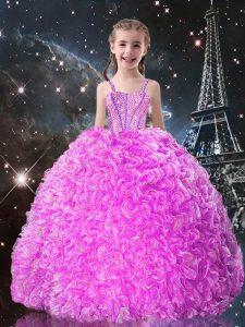 Custom Made Fuchsia Organza Lace Up Girls Pageant Dresses Sleeveless Floor Length Beading and Ruffles