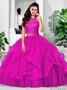 Perfect Fuchsia Two Pieces Halter Top Sleeveless Tulle Floor Length Zipper Lace and Ruffles Quinceanera Gowns