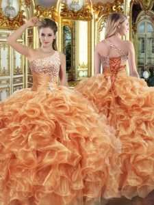 Elegant Floor Length Orange Vestidos de Quinceanera One Shoulder Sleeveless Lace Up