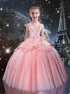 Elegant Rose Pink Sleeveless Floor Length Beading Lace Up Girls Pageant Dresses