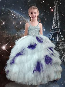 Modern White Ball Gowns Tulle Straps Sleeveless Beading and Ruffled Layers Floor Length Lace Up Kids Pageant Dress