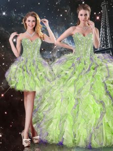 New Arrival Organza Sleeveless Floor Length Ball Gown Prom Dress and Beading and Ruffles
