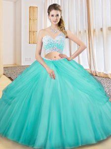 Custom Designed Aqua Blue Criss Cross Sweet 16 Quinceanera Dress Beading and Ruching and Pick Ups Sleeveless Floor Length