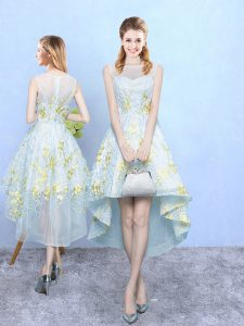 Scoop Sleeveless Court Dresses for Sweet 16 High Low Appliques and Pattern Apple Green Tulle