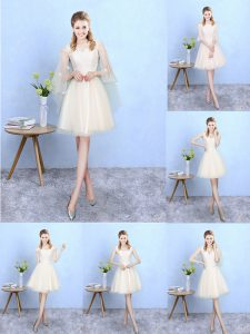 Nice Champagne Empire V-neck Cap Sleeves Tulle Knee Length Lace Up Lace Quinceanera Dama Dress