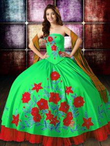 Beautiful Multi-color Strapless Neckline Embroidery Vestidos de Quinceanera Sleeveless Lace Up