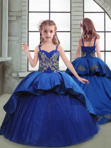 Royal Blue Ball Gowns Spaghetti Straps Sleeveless Taffeta and Tulle Brush Train Lace Up Embroidery Child Pageant Dress