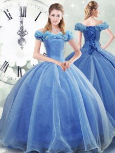 Fancy Light Blue Ball Gowns Off The Shoulder Sleeveless Organza Brush Train Lace Up Pick Ups Sweet 16 Dresses