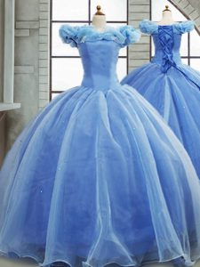 Custom Designed Light Blue Sleeveless Organza Brush Train Lace Up 15 Quinceanera Dress for Military Ball and Sweet 16 and Quinceanera