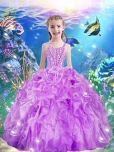 Fashionable Sleeveless Lace Up Floor Length Beading and Ruffles Kids Pageant Dress