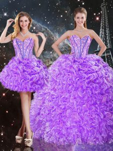 Fashion Lavender Organza Lace Up Sweetheart Sleeveless Floor Length Quinceanera Dresses Beading and Ruffles