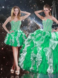 Inexpensive Multi-color Ball Gowns Sweetheart Sleeveless Organza Floor Length Lace Up Ruffles Quinceanera Dresses