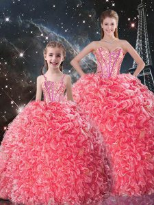 Delicate Sweetheart Sleeveless Lace Up Quinceanera Dress Coral Red Organza