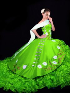 New Style Sleeveless Organza Brush Train Lace Up Quinceanera Dresses for Military Ball and Sweet 16 and Quinceanera