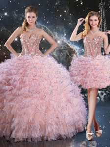 Sleeveless Floor Length Beading and Ruffles Lace Up Sweet 16 Quinceanera Dress with Baby Pink