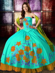 Multi-color Strapless Lace Up Embroidery 15 Quinceanera Dress Sleeveless