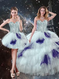 Floor Length Multi-color Quinceanera Gown Tulle Sleeveless Beading and Ruffled Layers and Sequins