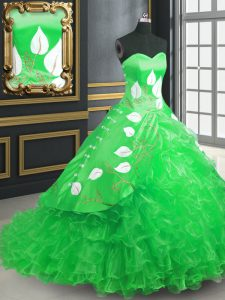 Sleeveless Organza Brush Train Lace Up 15 Quinceanera Dress in Green with Embroidery and Ruffles