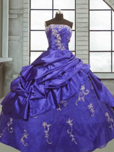 Adorable Floor Length Purple Quinceanera Gown Taffeta Sleeveless Appliques and Pick Ups