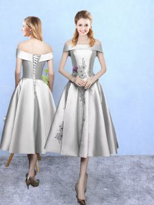 Inexpensive A-line Dama Dress Silver Off The Shoulder Taffeta Sleeveless Tea Length Lace Up
