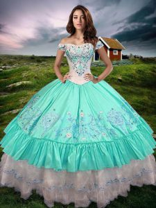 Aqua Blue Sleeveless Taffeta Lace Up 15 Quinceanera Dress for Military Ball and Sweet 16 and Quinceanera