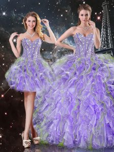 Romantic Lavender Ball Gowns Sweetheart Sleeveless Organza Floor Length Lace Up Beading and Ruffles Quinceanera Dress