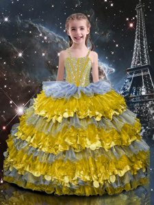 Adorable Floor Length Ball Gowns Sleeveless Multi-color Little Girl Pageant Gowns Lace Up