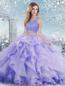Organza Scoop Sleeveless Clasp Handle Beading and Ruffles Vestidos de Quinceanera in Lavender