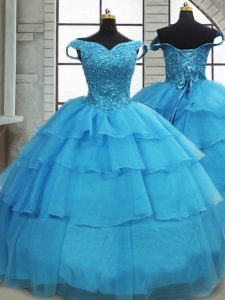 Baby Blue Ball Gown Prom Dress Organza Brush Train Sleeveless Beading and Ruffled Layers