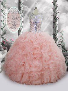 Elegant Scoop Sleeveless Lace Up Sweet 16 Dresses Baby Pink Organza