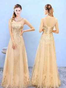 Gold Dama Dress for Quinceanera Wedding Party with Beading and Appliques Scoop Sleeveless Lace Up