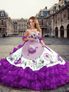 Clearance Floor Length Ball Gowns Sleeveless Eggplant Purple 15 Quinceanera Dress Lace Up