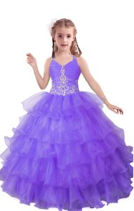 Sleeveless Beading and Ruffled Layers Zipper Little Girl Pageant Dress