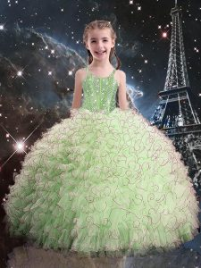 Customized Floor Length Ball Gowns Sleeveless Yellow Green Girls Pageant Dresses Lace Up