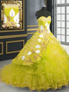 Simple Ball Gowns Sleeveless Yellow Quinceanera Gown Brush Train Lace Up