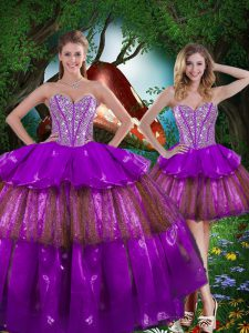Elegant Multi-color Lace Up Sweetheart Beading and Ruffled Layers and Sequins Sweet 16 Dresses Organza Sleeveless