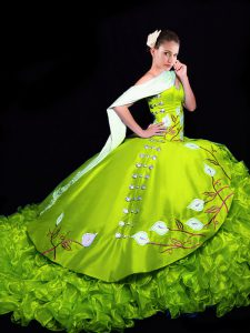 Dazzling Lace Up Sweet 16 Quinceanera Dress Yellow Green for Military Ball and Sweet 16 and Quinceanera with Embroidery and Ruffles Brush Train