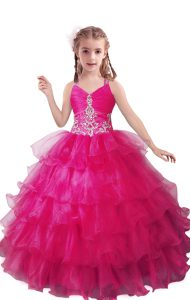Fuchsia Sleeveless Organza Zipper Little Girl Pageant Gowns for Quinceanera and Wedding Party