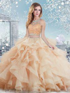 Peach Ball Gowns Scoop Sleeveless Organza Floor Length Clasp Handle Beading and Ruffles Vestidos de Quinceanera