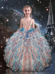 Elegant Multi-color Lace Up Straps Beading and Ruffles Little Girls Pageant Dress Organza Sleeveless