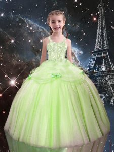 High Class Floor Length Yellow Green Child Pageant Dress Straps Sleeveless Lace Up