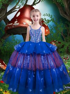 Super Blue Lace Up Kids Formal Wear Beading and Ruffled Layers Sleeveless Floor Length