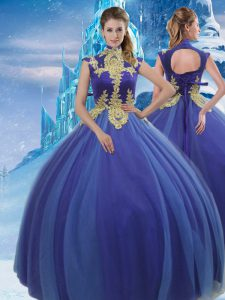Free and Easy Royal Blue Sleeveless Appliques Floor Length Sweet 16 Dress